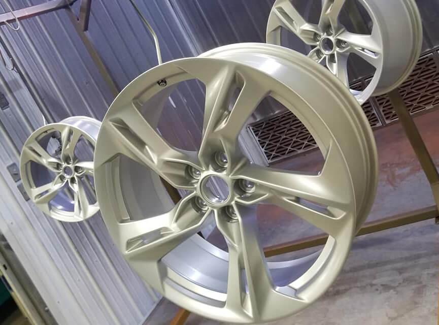 A car's wheel rims